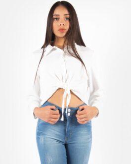 Camisa con nudo al frente – Blanco