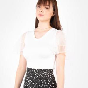 Blusa Manga Mesh – Blanca